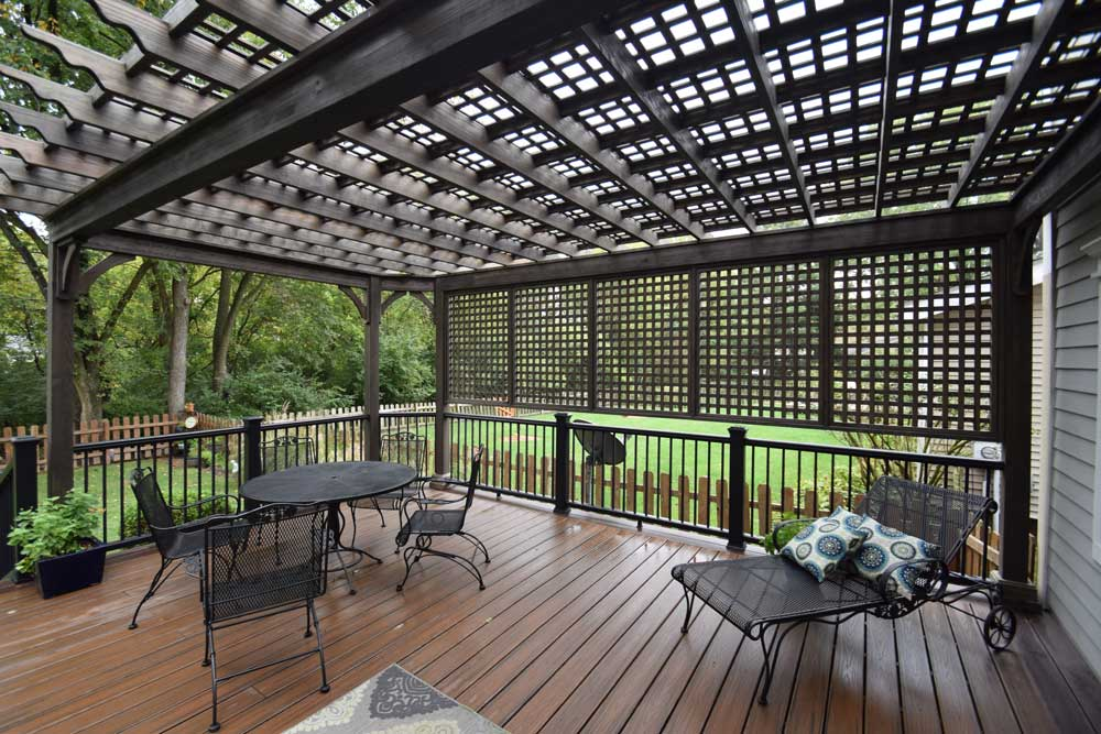 Charcoal Black Wood Pergola Lattice Roof Privacy Wall