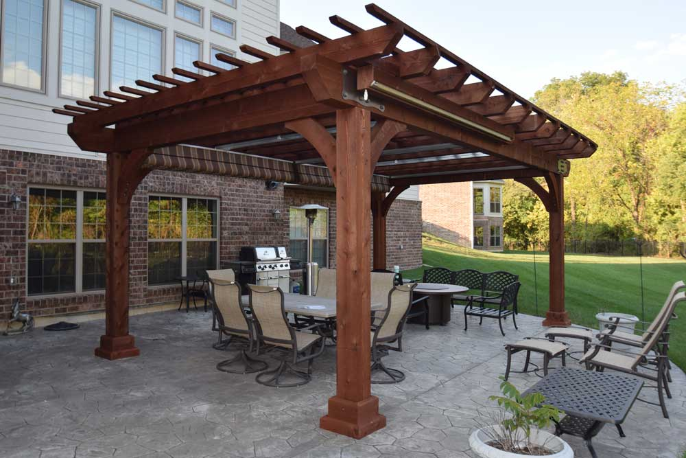 Large Wood Pergola Kingston Cedar Shades Canopy Curtain Large Posts