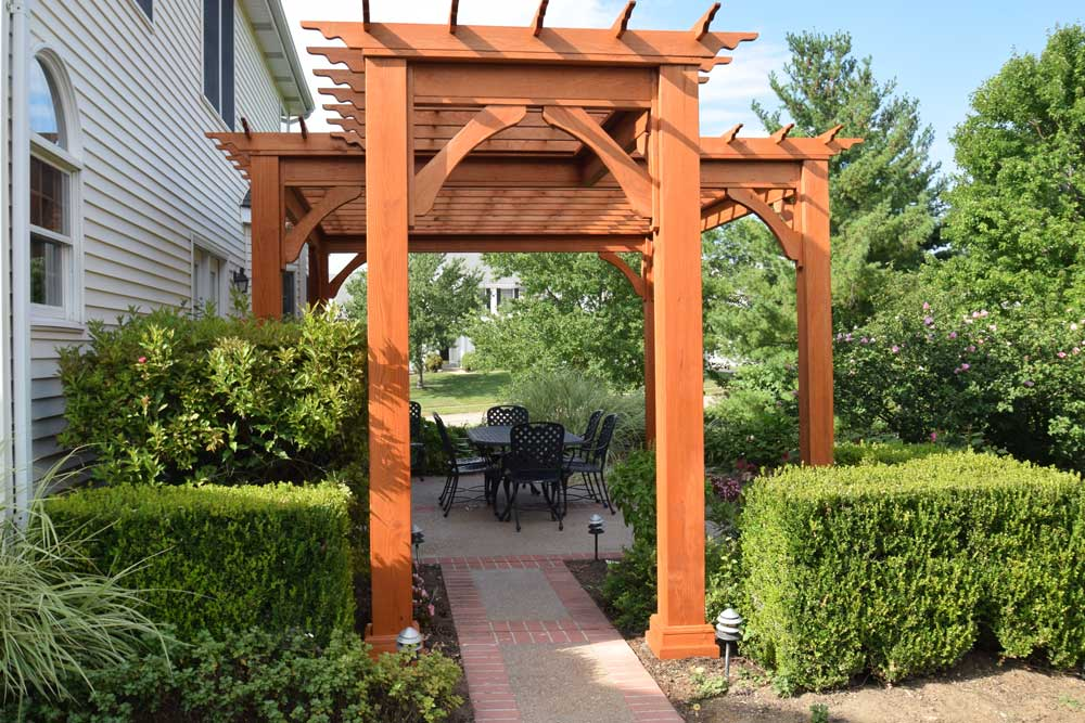 Stained Wood Pergola Large Posts Custom Shape
