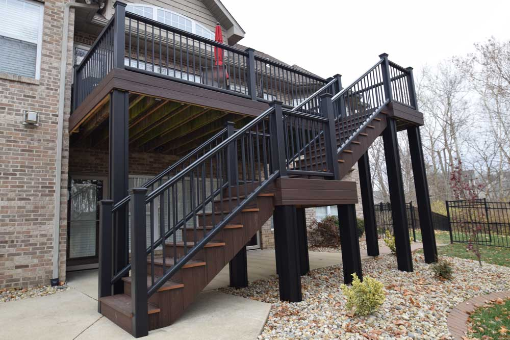 Trex Transcend Lava Rock Black Rail Black Columns Illinois