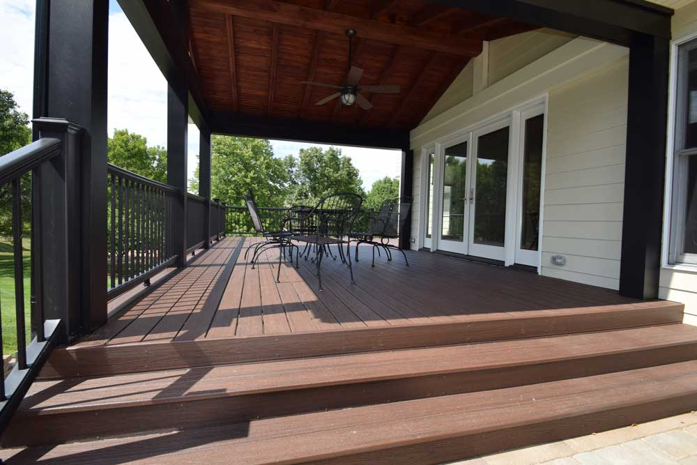 Trex Transcend Lava Rock Black Railing Covered Deck Wide Stairs Ballwin