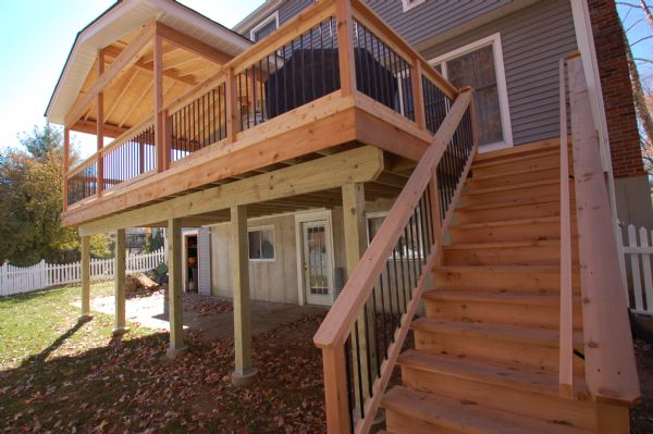 Western Red Cedar Deck with Covered Porch Kirkwood St Louis