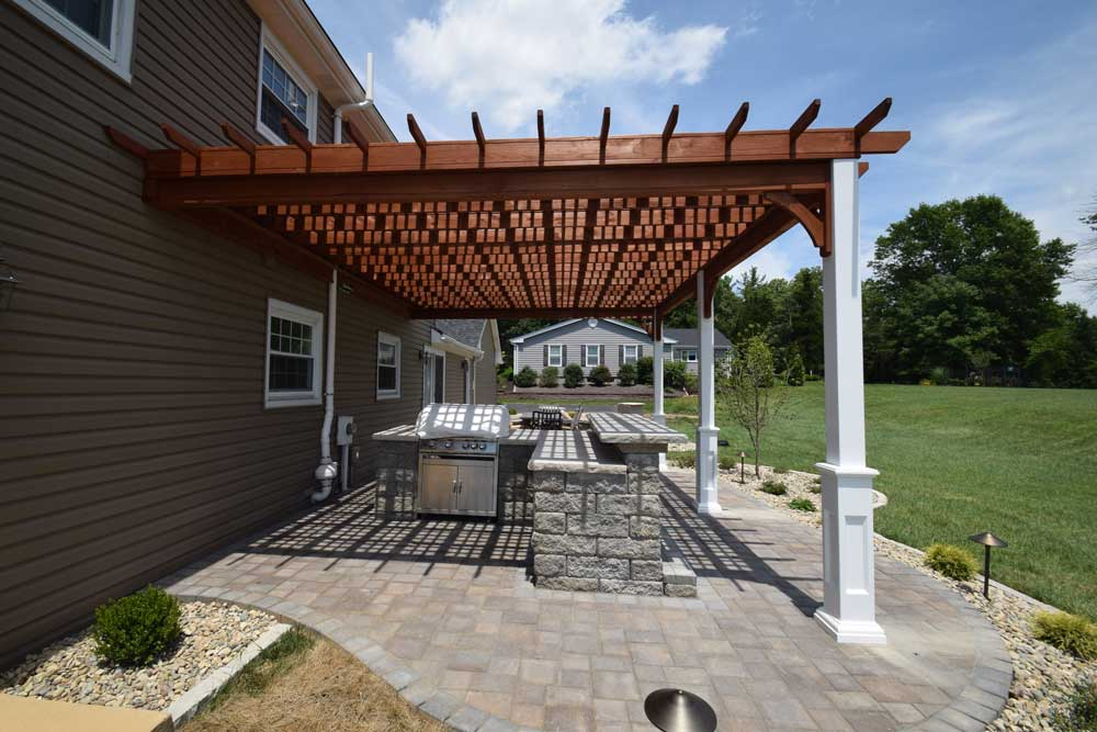 Wood Pergola White Posts Over Patio Outdoor Kitchen