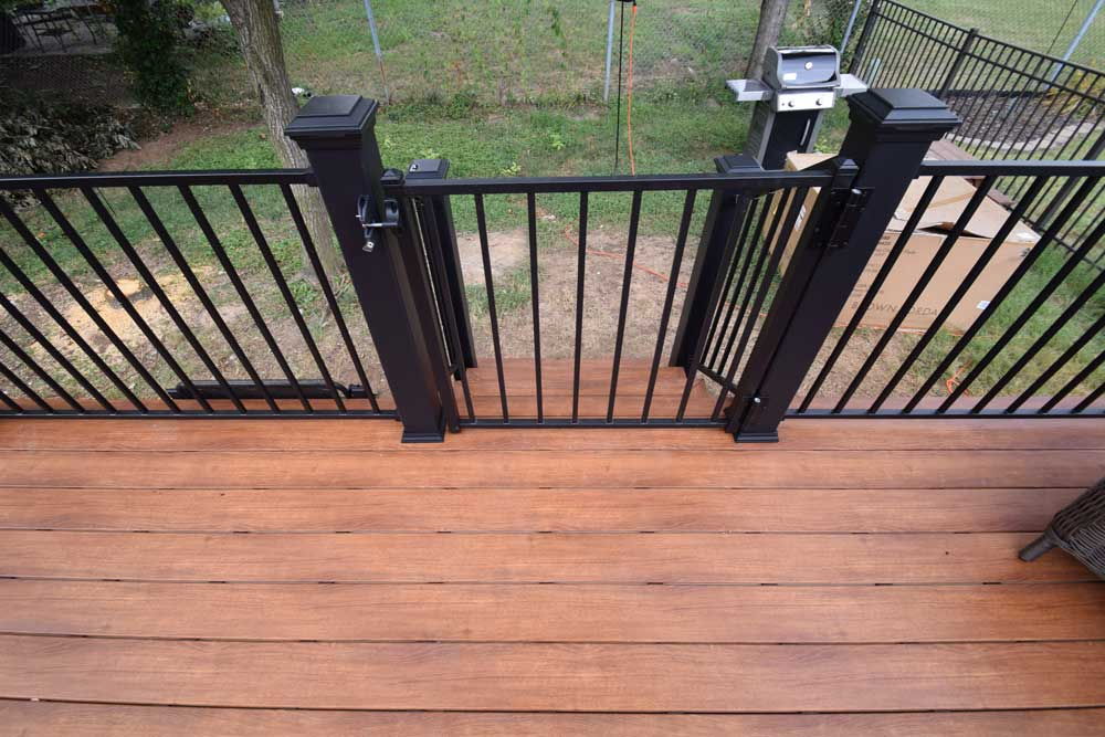 Zuri Pecan Black Metal Railing Black Metal Gate