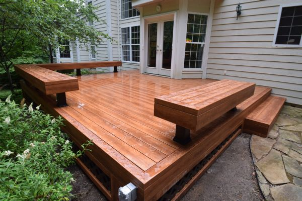Zuri Pecan Deck Bench St Louis Wildwood