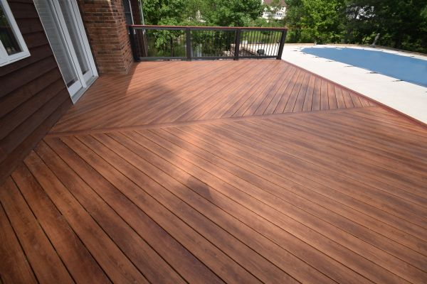 Zuri Pecan Deck Timber Tech Builder Rail St Louis