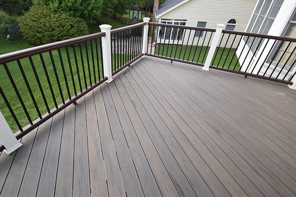 Deckorators Ironwood White Posts Brown Railing St. Louis