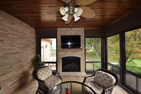 Eze-Breeze Three Season Sunroom Fireplace St. Louis