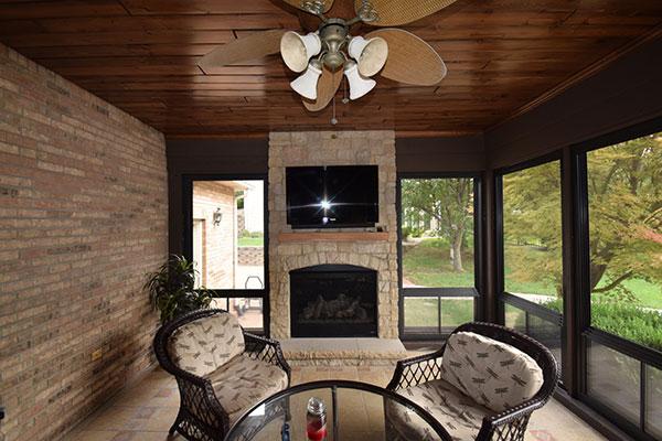 Eze-Breeze Three Season Sunroom Fireplace St. Louis