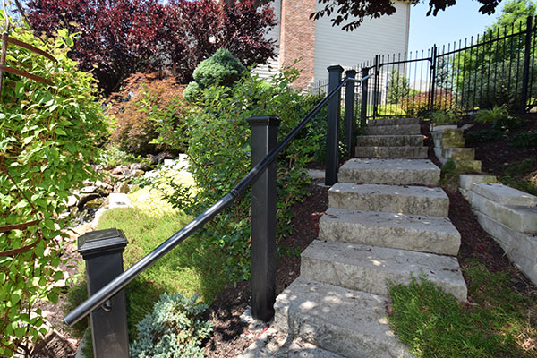 Black Railing Stone Staircase St Louis