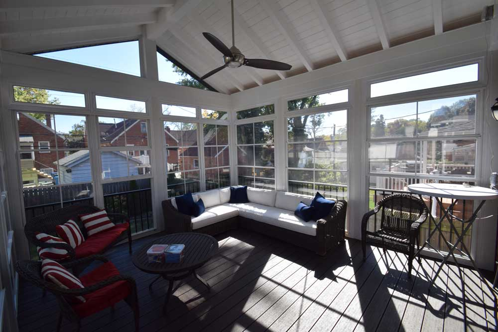 Three Season Room White Ceiling Exposed Rafters Eze Breeze Richmond Heights