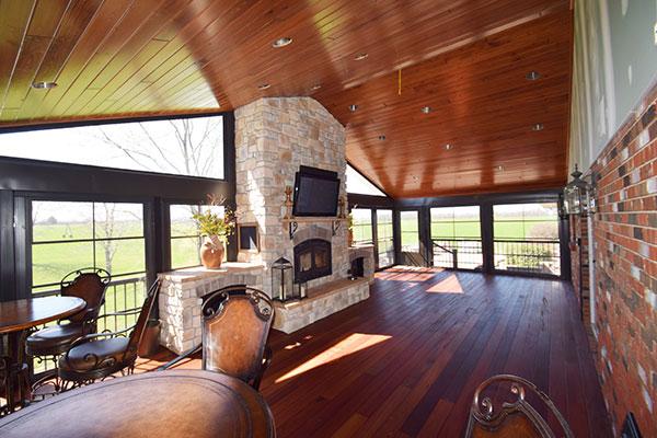 Three Season Room TigerDeck Fireplace Wood Ceiling St. Louis
