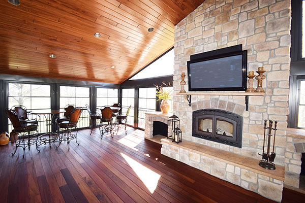 Three Season Room TigerDeck Fireplace Wood Ceiling St. Louis