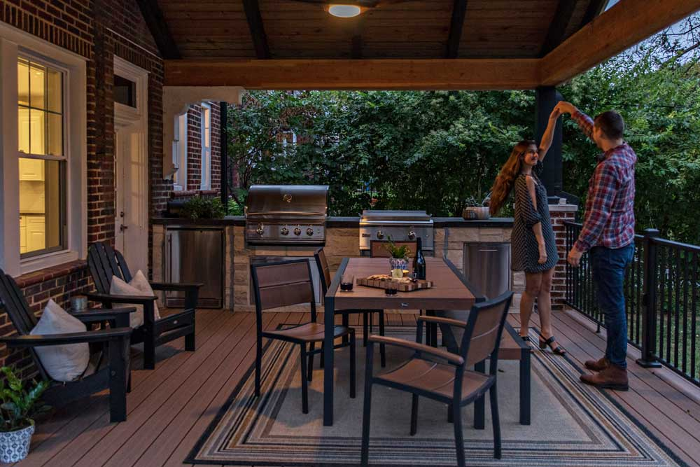 Covered Deck Night Built In Grill