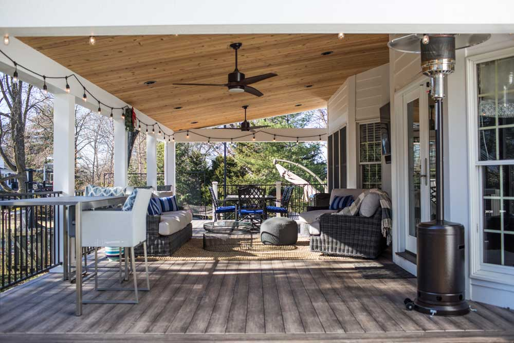 Covered Deck Wood Ceiling White Columns