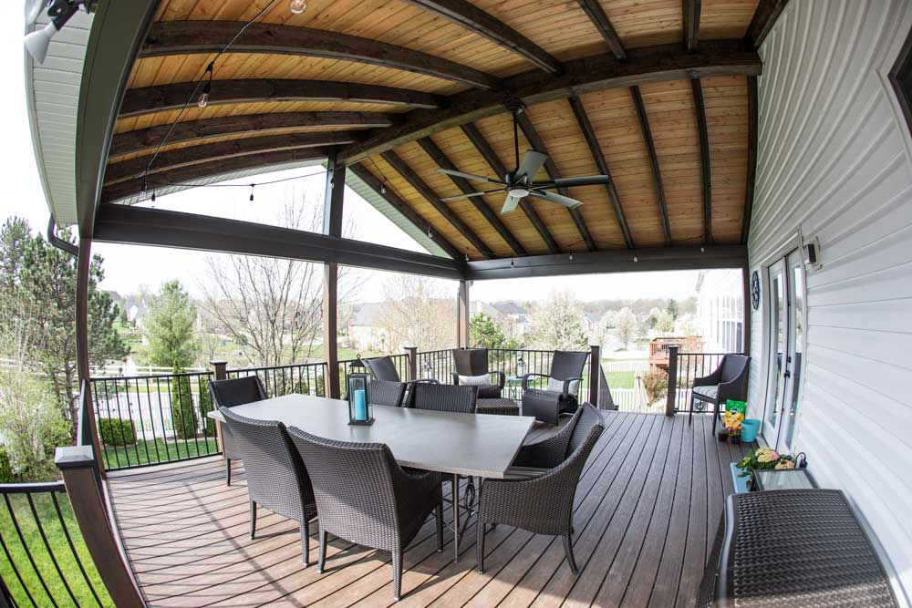 Covered Deck Wood Ceiling