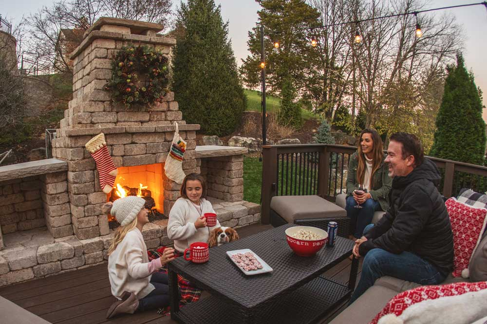 Outdoor Fireplace with deck in St. Louis